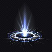Hologram Blue Ray Or Ufo Portal, Magic Beam Or Projector Light, Futuristic Circle Spin Or Falling Vo poster