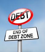 picture of debt free  - Illustration depicting a red and white road sign with a debt free concept - JPG