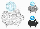Mesh Piggy Bank Model With Triangle Mosaic Icon. Wire Carcass Polygonal Mesh Of Piggy Bank. Vector C poster