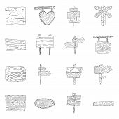 Vector Illustration Of Hardwood And Material Symbol. Collection Of Hardwood And Wood Vector Icon For poster