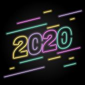 2020 Number Neon Glow Effect Isolated On Black Background, 2020 Number For Calendar New Years, Happy poster