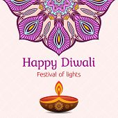 Greeting Card For Diwali Festival With Diwali Oil Lamp And Mandala. Diwali Or Deepavali Celebration  poster