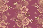 Vintage Floral Seamless Pattern. Garlands Of Garden Flowers, Birds And Butterflies. Beautiful Peonie poster