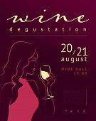 Vector Wine Degustation Poster Template With Hand Drawn Portrait Of Young Beautiful Lady In Pink Dre poster