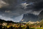 Wetterhorn Peak (3692m) and Grindelwald Village, Berner Oberland, Switzerland - UNESCO Heritage