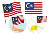 Malaysia Flag Icon Set. National Flag Of Malaysia Illustration poster
