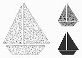 Mesh Yacht Model With Triangle Mosaic Icon. Wire Frame Triangular Network Of Yacht. Vector Compositi poster