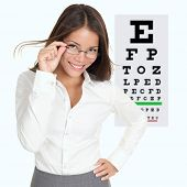 pic of snellen chart  - Optician or optometrist showing Snellen eye exam chart wearing eye wear glasses - JPG