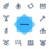 Gardening Line Icons. Set Of Line Icons On White Background. Hobby Concept. Flowers, Leaf, Earth, Eq poster