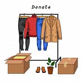 Color Vector Illustration Of Clothes Donation. Male Clothes And Carton Boxes Full Of Clothes. Jacket poster