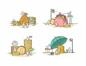 Sketch Set With Little People And Coins Coins. Doodle Cute Finance Objects. Hand Drawn Cartoon Vecto poster