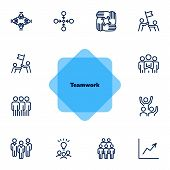 Team Working Together Line Icon Set. Stack Of Hands, Idea, Flag. Teamwork Concept. Can Be Used For T poster