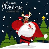 Christmas Cartoon Of Santa Claus, Reindeer, Christmas Tree On Snow Hill And Merry Christmas Text. Cu poster