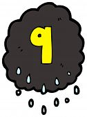 cartoon raincloud number nine
