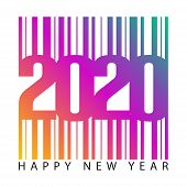 2020 Barcode Number  Isolated On White Background, Number For Calendar, Happy New Year 2020,2020 Beg poster