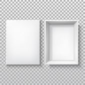 White Box With Open Cap, Top View, Vector 3d Realistic Isolated Mockup Template. White Cardboard Or  poster