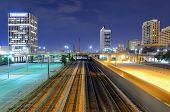 Railway in cutting through downtown Birmingham, Alabama, USA.