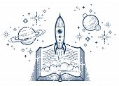 Open Book With Launching Rocket Vector Linear Icon, Missile Start Up From Text, Space Scientific Lit poster