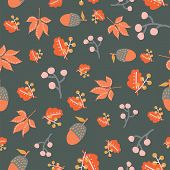 Scattered Autumn Leaves Berries Acorn Seamless Vector Background. Abstract Fall Pattern Red Orange G poster