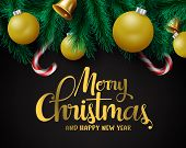 Christmas Decors Vector Background Template. Merry Christmas Greeting In Black Empty Space For Text  poster