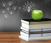 Apple Over Books Background Blackboard
