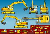 Yellow Excavator  In Five Orthogonal Position