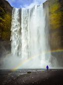 Skogafoss Waterfall In Iceland. Man With Red Jacket Looking At Waterfall. Rainbow poster
