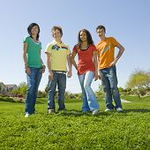 Group Of Teens In Park