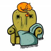 Cat On Armchair. Cute Ginger Cat Sitting On A Green Armchair, Home Pet Resting. Decorative Accessory poster