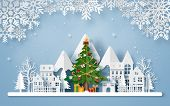 Origami Paper Art Of Christmas Tree In The Village With The Mountain, Merry Christmas And Happy New  poster