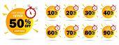 Discount Last Minute Offer Tag, 50, 20, 10, 40, 30, 60, 70, 80, 90 Percent.set Sale Off Time Emblem, poster