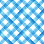 Watercolor Diagonal Stripe Plaid Seamless Texture. Blue Stripes On White Background. Watercolour Han poster