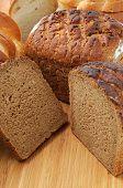 cut bread on breadboard