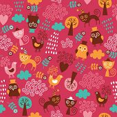 seamless pattern with cute birds and cats. Children's fabric design.
