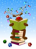 Cartoon Deer Reads A Book For Christmas. A Deer With A Book And With Christmas Decorations On A Wint poster