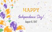 India Independence Day Greeting Card. Flying Balloons In India National Colors. Happy Independence D poster