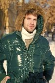 Prepared For Weather Changes. Winter Stylish Menswear. Winter Outfit. Man Unshaven Wear Warm Jacket  poster