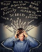 Scared Teenager Boy Mess In Head, Hands Covering Ears, Eyes Closed Feeling Pain, Headache And Emotio poster