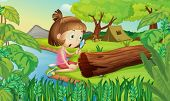 foto of hollow log  - Illustration of girl in the woods with magnifying glass - JPG