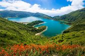 Beautiful Scenic View Of Turquoise Water Of Lagoa Do Fogo (lake Of Fire) On Sunny Summer Day. Bloomi poster