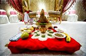 stock photo of tamil  - ceremony set up for an Indian wedding