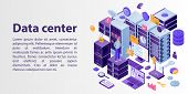 Data Center Network Concept Banner. Isometric Illustration Of Data Center Network Vector Concept Ban poster