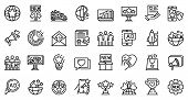Campaign Icons Set. Outline Set Of Campaign Vector Icons For Web Design Isolated On White Background poster