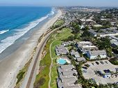 Aerial View Of Del Mar Coastline And Beach, San Diego County, California, Usa. Pacific Ocean With Lo poster