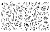 Doodle Elements. Crowns Arrows Stars And Flowers Sketch Design Template. Vector Black Pencil Branche poster