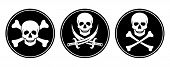 stock photo of crossed swords  - Three variations skull and crossbones and skull with swords in vector - JPG