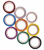 image of gaffer tape  - background texture of colored circles roll of adhesive tape isolated on white background - JPG