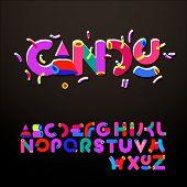 Stylized candy-like alphabets