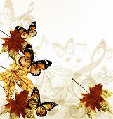 kreative Kunst Musik Hintergrund mit Herbst Blätter, Notizen und Schmetterlinge