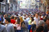 image of crowd  - Blurred crowd of unrecognizable people at the Istiklal street in Istanbul - JPG